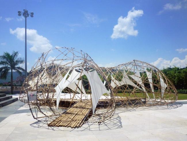 sphäre konstrktion kunst skulptur bambus